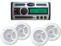 See Pyle Full Audio Package for Boat/Car/Truck/SUV -- PLCDMR97 1.5-Din AM/FM Receiver CD/CDR/MP3/AM-FM Marine Grade Player + 2x PLMR60W Pair of 150W Waterproof 6.5