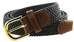 Braided Elastic Woven Stretch Solid Color Belt Gold with Brown Leather Buckle (Grey-L)