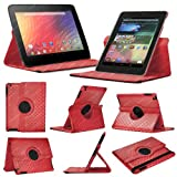 Stuff4 MR-NX7-L360-PAT-DMND-R-STY-SP Diamond Designed Leather Smart Case with 360 Degree Rotating Swivel Action and Free Screen Protector/Stylus Touch Pen for 7 inch Google Nexus 7 - Red
