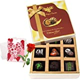 Valentine Chocholik's Belgium Chocolates - Decadent Dark Chocolate Box With Love Card And Rose