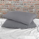 Linenshed Stone Washed Linen Euro Shams (Set of 2) Lead Gray