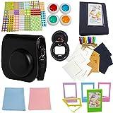 SAIKA Instant Film Camera Accessories Bundles for Fujifilm Instax Mini 8/8+ (Camera Case/Photo Album/Selfie Lens/4 Colors Filters/Desk Frames/Hanging Frames/Stickers/Lens Cleaning Cloth) - Black