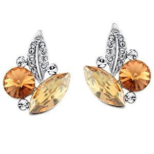 Neoglory Jewelry Platinum-plated Leaf Stud Post Earrings Champagne Crystal Mother's Gift