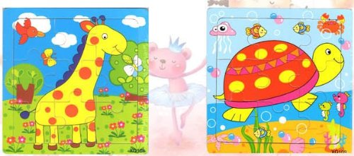 2pcs Wooden Cartoon Animal Jigsaw Puzzle Early Educational Toys Gifts (Giraffe + Tortoise ?
