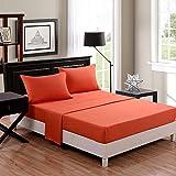 Honeymoon super soft/ Elegant/ Wrinkle Free/ Fade-resistant/ No Ironing 4PC bed sheet set, Twin/Full/Queen/King, Orange, deep pockets, sensitive skin, fine workmanship, Easy Care
