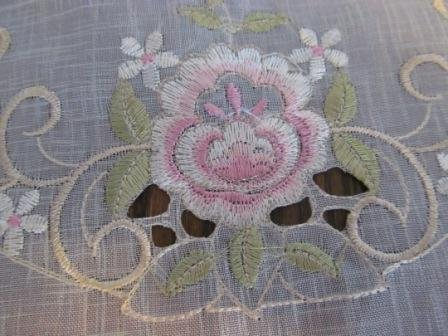 "34"" Table Runner Or Dresser Scarf With Light Pink Roses On Sheer Material front-990486"