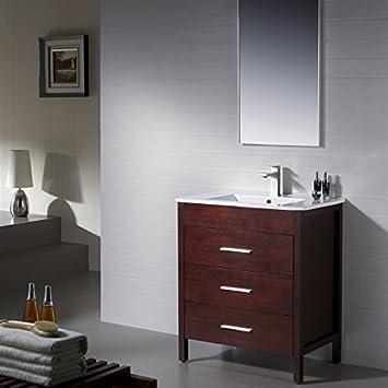 Bathroom Vanity Morris 30 Matt White with Porcelain Sink Top