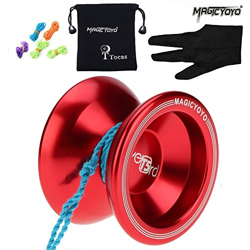 MAGIC YOYO ®T5 yo-yo boule original en Aluminum yoyo professionnelle Rouge Sac + Gant + 5 Cordes jouet et bon cadeau pour les enfants(Rouge)