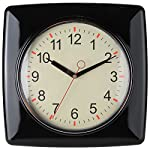 Lily's Home Square Retro Kitchen Wall Clock, Large Dial Quartz Timepiece, Black, 11""