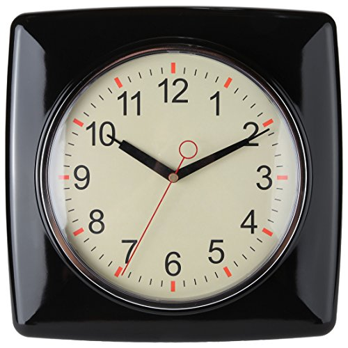 "Lily's Home Square Retro Kitchen Wall Clock, Large Dial Quartz Timepiece, Black, 11"" 0"
