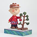 Jim Shore for Enesco Peanuts Charlie Brown with Tree Figurine, 5-Inch