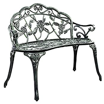 Giantex Patio Garden Bench Chair Style Porch Cast Aluminum Outdoor Rose Antique Green