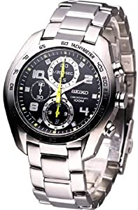 Seiko Men's SNDD31 Silver Stainless-Steel Analog Quartz Watch with Black Dial