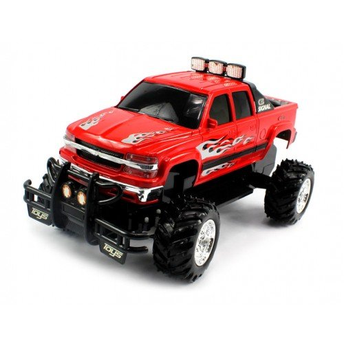 51DYxJZMvZL Cheap  Electric Full Function Chevy Silverado 4X4 Off Road Monster RTR RC Truck Remote Control w/ Rechargeable Batteries (Colors May
