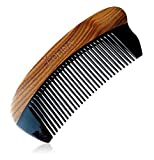 Olina 100% Handmade Premium Quality Natural Green Sandal Wood Comb Pocket Comb with Natural Wood Aromatic Smell (Narrow-tooth, Black Ox Horn & Green Sandal Wood, Moon, 4.7 )
