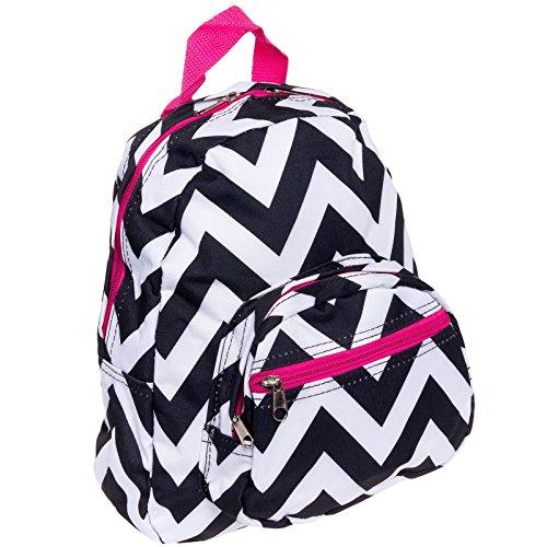 "11.5"" Chevron Print Mini School Travel Backpack (Black & White w/ Pink Trim)"