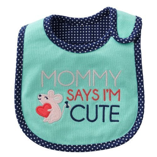 "Carter's ""Mommy Says I'm Cute"" Mouse Polka Dot Baby teething/feeding Bib - 1"