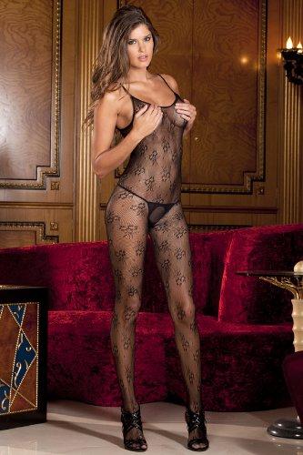 Sexy Sheer Black Halter Body Stocking - One Size