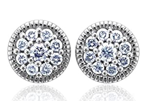 14k White Gold Cluster Diamond Earrings Studs (GH, I1-I2, 0.62 carat) [Jewelry]