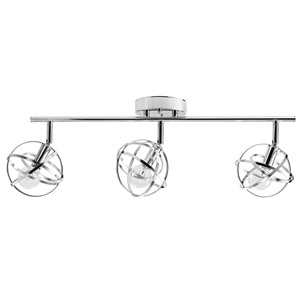 Globe Electric Tatum 3 Track Lighting, Chrome 59362, Silver (Color: Silver)