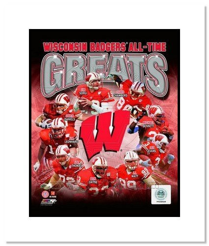All About Autographs AAA-11607m Wisconsin Badgers All Time Greats NCAA Double Matted 8x10 Photograph Collage