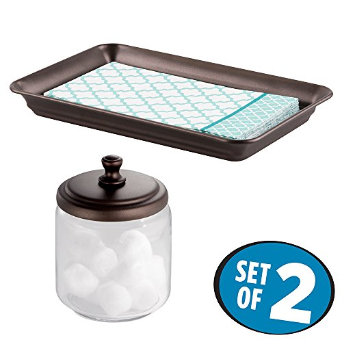 mDesign Glass Apothecary Jar and Guest Towel Tray for Bathroom Vanities, 2 pc Set - Clear/Bronze (Vanity Tray Bronze compare prices)