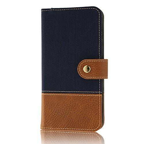 レイ・アウト iPhone7 Plus ケース 手帳型 ファブリック スナップボタン 帆布/ネイビー  RT-P13FBC2/N