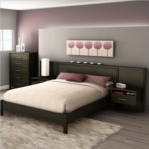 South Shore Gravity Queen Platform Bed and Headboard,Nightstand Kit in Ebony Finish
