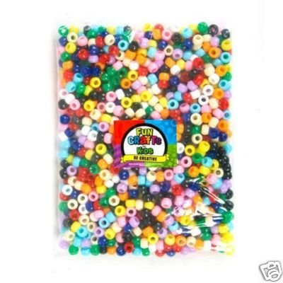 2000 PACK OPAQUE PONY BEADS ASSORTED COLORS - 6mmx9mm NEW!