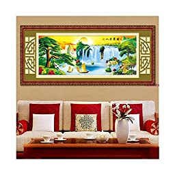 Diamond Painting Magic Cube Diamond Living Room the Pine Greeting Guests Gather Wealth from 8 Directions Flowing Water Brings Wealth Cross Stitch Diamond Paste Diamond Stitch