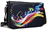 Meffort Inc 15 15.6 Inch Laptop Padded Compartment Shoulder Messenger Bag with Shoulder Pad - Music Note Butterflies