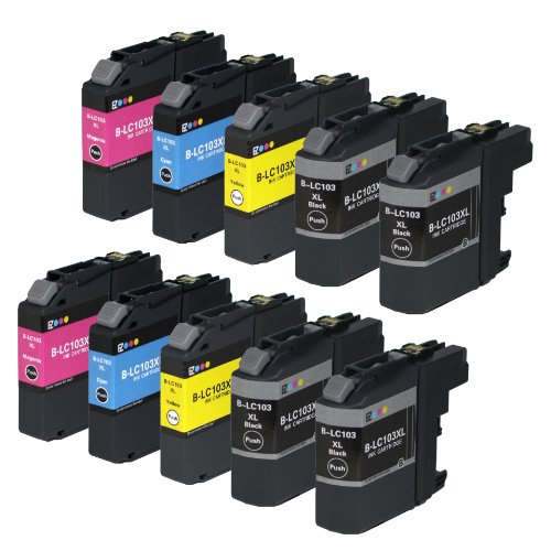 E-z Ink Compatible Ink Cartridge Replacement for Brother LC-103XL High Yield (4 Black, 2 Cyan, 2 Magenta, 2 Yellow) 10 Pack