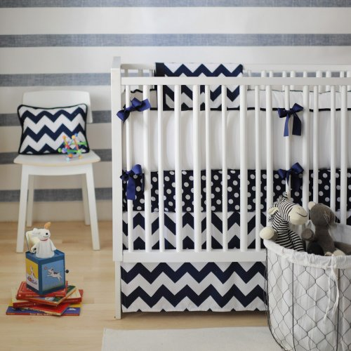 Navy And White Crib Bedding 8114 front