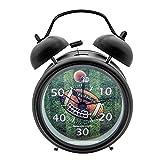 "Innolife 3"" Quiet Non-ticking Silent Quartz Analog Retro Vintage bedside Twin Bell Alarm Clock With Loud Alarm and Nightlight (Football)"