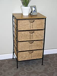 4d Concepts 4-drawer Wicker Stand Wicker Metal by 4D Concepts