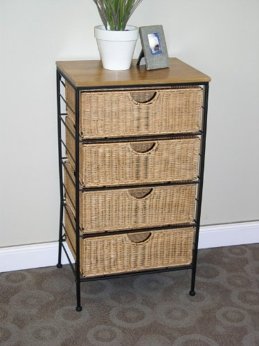 4D Concepts 4-Drawer Wicker Stand, Wicker/ Metal front-101718