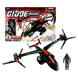"Hasbro Year 2010 ""A Real American Hero"" G.I. JOE 30th Anniversary Action Figure Vehicle Set - BLACK DRAGON VTOL with Spring Activated Nose Cannon and Drop ""Bombs"" Plus 4 Inch Tall Cobra Air Trooper Figure"