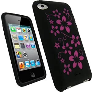 iGadgitz Black & Pink Flowers Silicone Skin Case Cover for Apple iPod Touch 4th Generation 8gb, 32gb, 64gb + Screen Protector