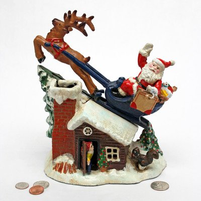 Design Toscano SP2255 Santa's Christmas Sleigh Ride Mechanical Coin Bank