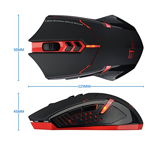 65a76cbfa71 Pictek 2400DPI Adjustable Game Mice 2.4G Wireless Gaming Mouse with  7-Button,Quiet Button Design for Laptop Notebook PC Laptop Computer, ...