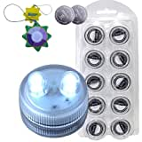 HQRP 10-Pack White Underwater Dual LED Illuminated Submersible Flameless Tea Light Candles + 20 Replacement Batteries...
