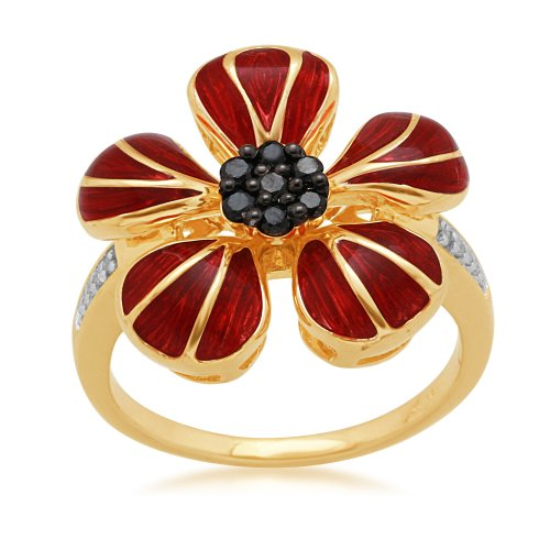 Jewelili 18k Gold Plated Sterling Silver with Dark Red Enamel Black and White Diamond Ring (1/5 Cttw, IJ Colour, I2/I3 Clarity), Size 7