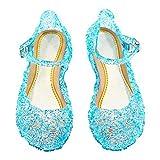 Cinderella Baby Girls Soft Crystal Plastic shoes children's Princess Shoes(Toddler/Little kid) (Color: Blue, Tamaño: 8.5 M US Toddler)