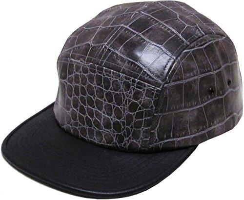 KBETHOS Crocs Genuine Leather Strap 5 Panel Hat Cap - BLACK