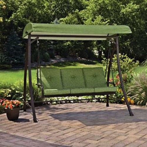 Spring Green Leaf Outdoor Swing, Seats 3 with Canopy for Shade