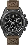 Timex Expedition Men's Quartz Watch with Black Dial Chronograph Display and Brown Leather Strap - T49986