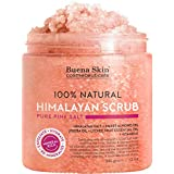 Body Scrub Himalayan Salt - 100% Natural Deep Cleansing Exfoliator With Sweet Almond Oil And Lychee Oil Promoting Radiant Skin By Buena Skin 12 fl. oz