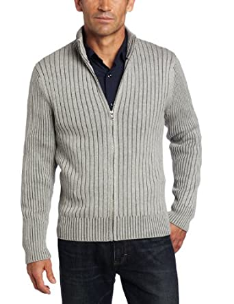 Alex Stevens Men's Ribbed Full Zip Mock Neck Sweater, Light Heather, XX-Large