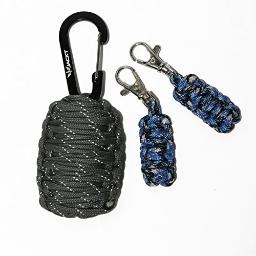 JACKT Emergency Outdoor Survival Kit with Carabiner & 2 Zipper Pulls (Select Models) ~ 9 feet of 550 lb Tensile Paracord ~ 14 Essential Survival Tools (Gunmetal II, reflective)