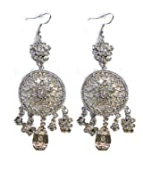 Women's PlatinumColor fashion Dangle Earrings w/ Flower Charms